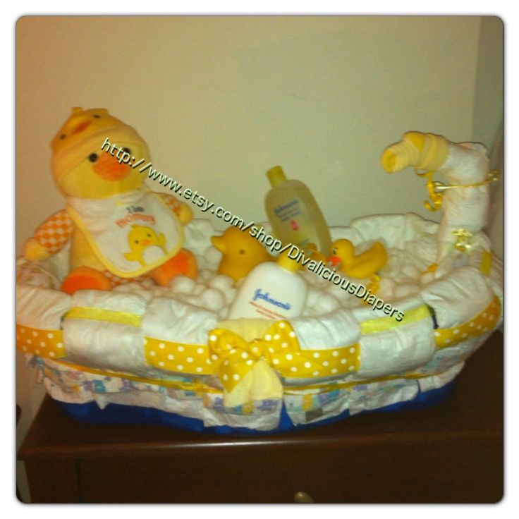 diaper cake bath tub baby shower gift by. Black Bedroom Furniture Sets. Home Design Ideas