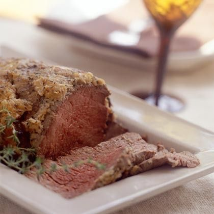seasonings coat this crusted beef tenderloin recipe a robust dish that ...
