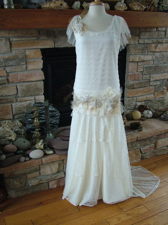 Original 1920s inspired wedding dress flapper gown beaded antique lac