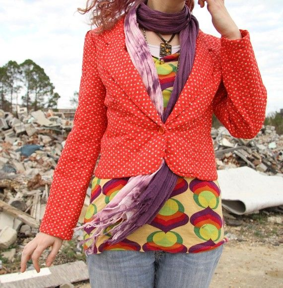 blazer scarf tuck bright eclectic   working the closet   Pinterest