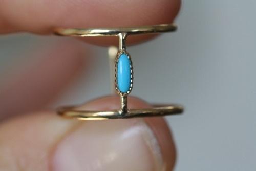 oblong turquoise stone ring