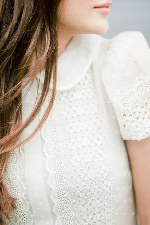 White Lace Blouse With Collar 73