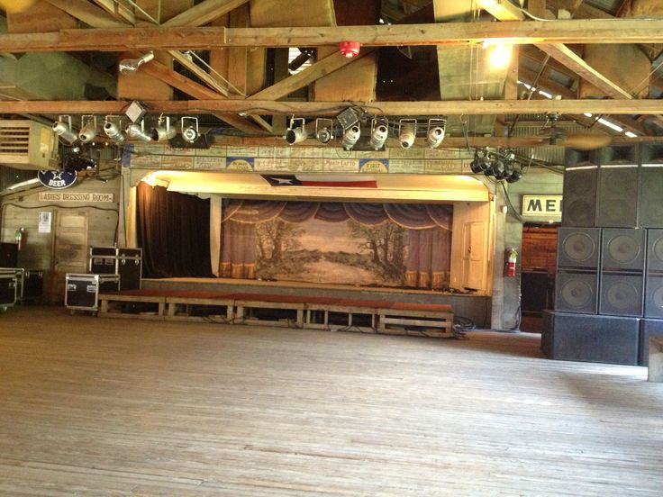 The stage at Historic Gruene Hall - Texas' Oldest Dance Hall