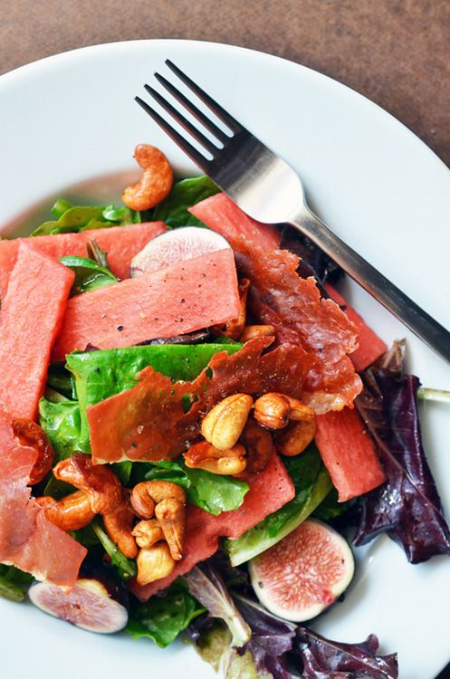 fig and watermelon salad? with vanilla cashews and crispy pork? um ...