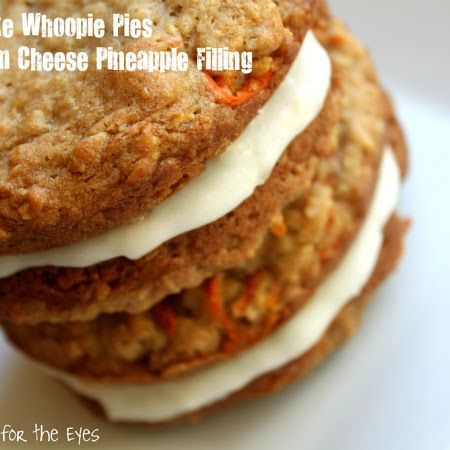 Carrot Cake Oatmeal Whoopie Pies, With Pineapple Cream Cheese filling