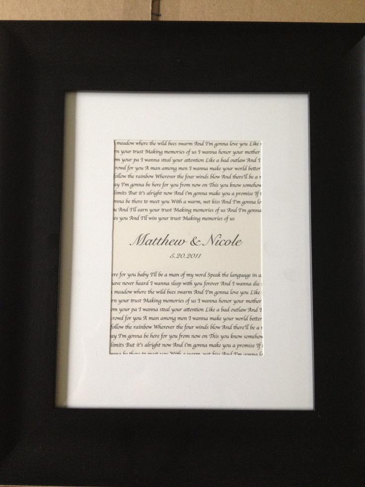 Wedding Song Lyrics Framed