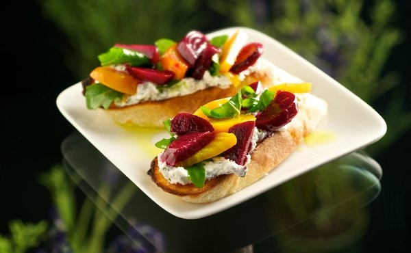 Roasted Beet & Whipped Goat Cheese with Arugula Dressed in Lavender ...