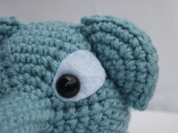 Crochet Amigurumi Elephant with Extra Long Trunk Toy in Blue-gender n ...