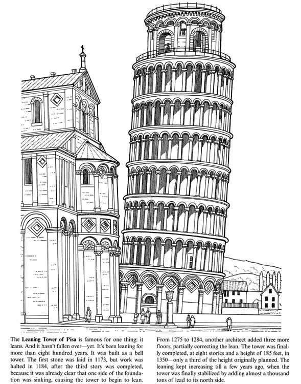Leaning Tower Of Pisa Coloring Kids Coloring Activity Pages Pin Leaning Tower Of Pisa Coloring Page