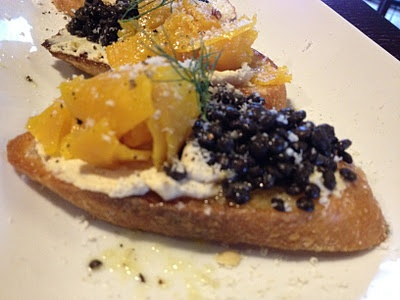 roasted gold beet crostini with black beluga lentils and smoked cashew ...