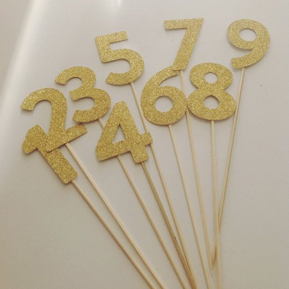 Table numbers glitter table numbers on sticks pop into for Glitter numbers for centerpieces