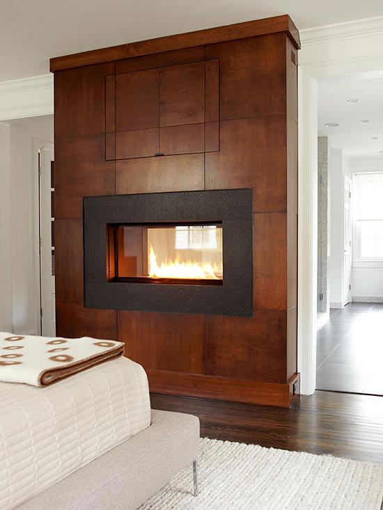 Two sided fireplaces for 2 bathroom master suite