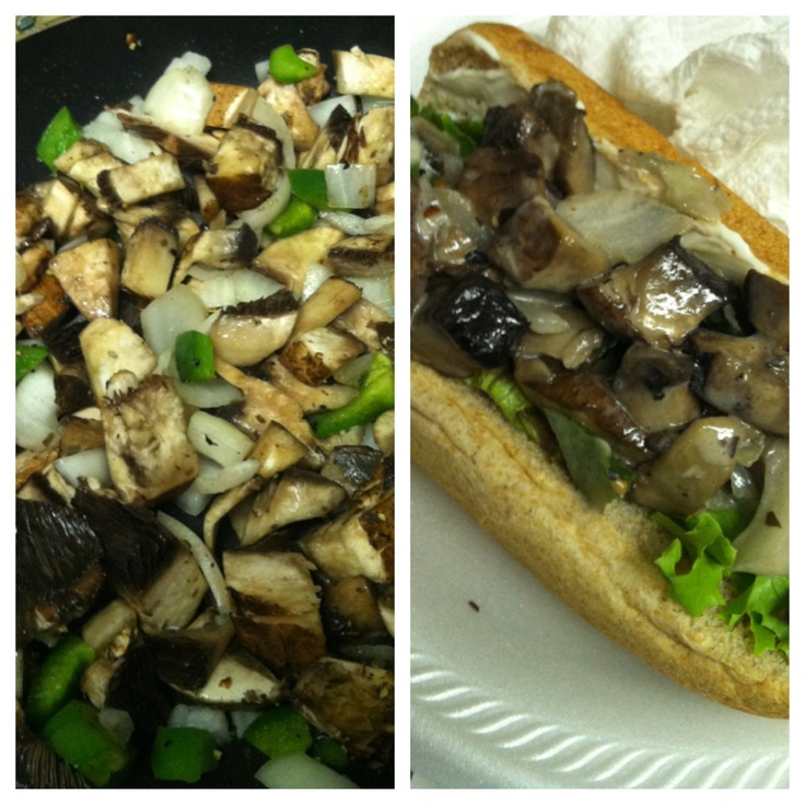 ... cheese steak made with portabella mushrooms,peppers,onions oh and