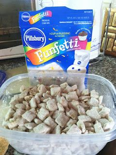 Cake Batter Puppy Chow! OH dear..