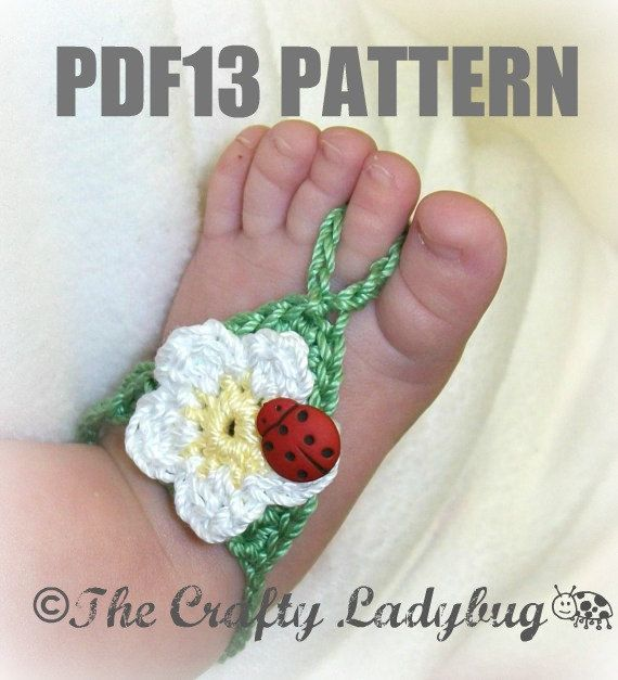 Free Crochet Patterns For Baby Boy Hat And Booties : Flower barefoot sandals - crochet pattern for babies and ...