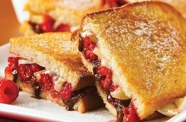 brie and raspberry panini with hazelnut spread punchfork