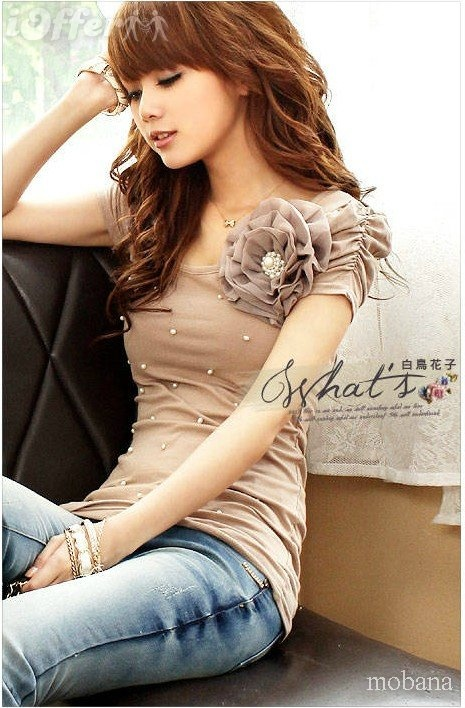 Fashion Flower Pearls Princess Short Sleeve T-Shirt