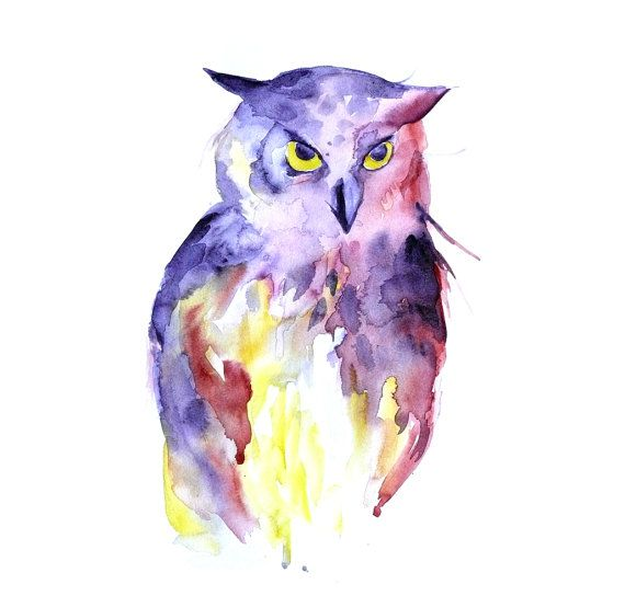 Owl Watercolor painting | ART in many forms | Pinterest