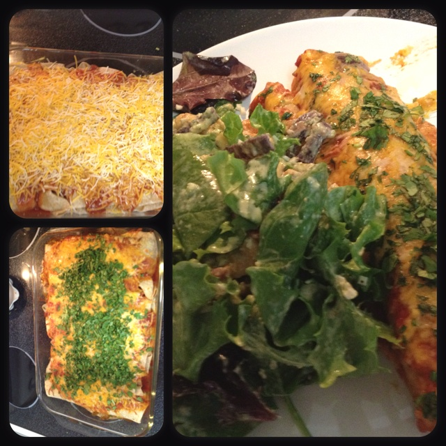 ... chicken caesar salad w/ cheesy zucchini enchiladas #mothersdaymeal