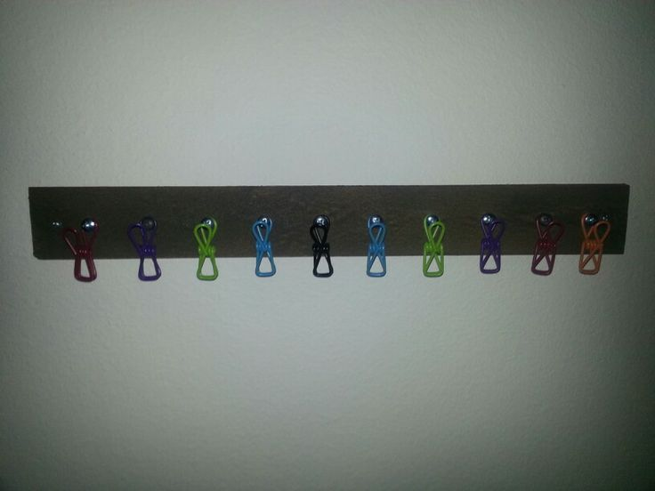 Scrap wood and dollar store clothes pins for kids chore list, birthday