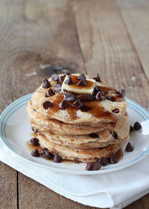 Chocolate Chip Pancakes | Kitchen Treaty I used regular milk + 1 1/2 ...