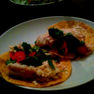 Fish Tacos - Tilapia with lettuce, tomato, cilantro, and spicy ...