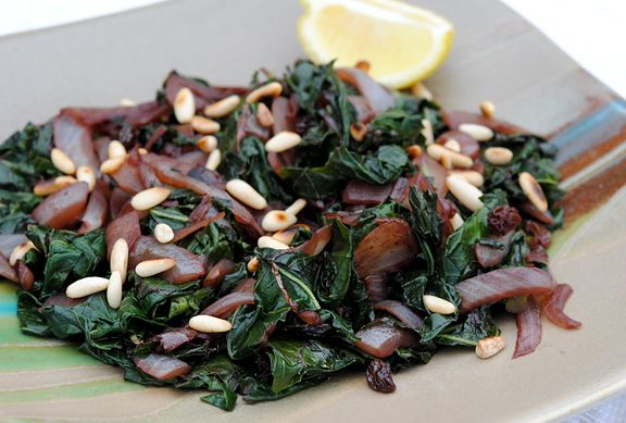 Sauteed Collard Greens with Red Wine Raisin Sauce (Serves 3-4) 1 Tbsp ...