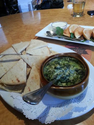 spinach dip and pita and buffalo chicken wontons
