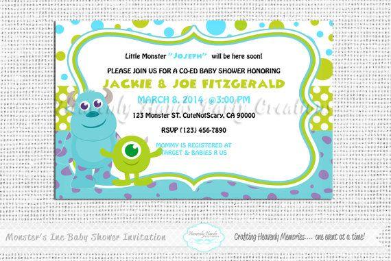 monster 39 s inc baby shower digital invitation on etsy