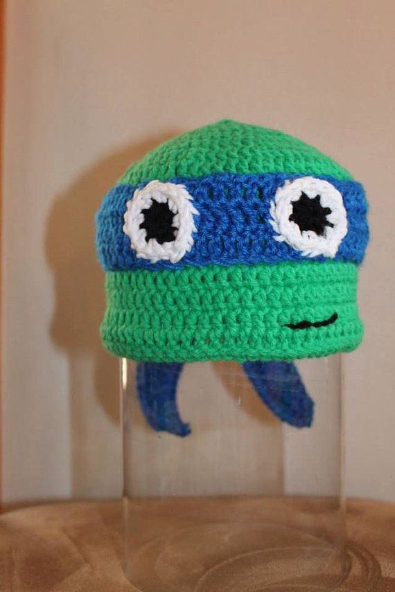 Crochet Ninja Turtle : Crochet Ninja turtle beanie by LebanonMadHatter on Etsy, $11.99