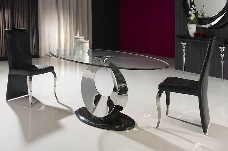 Mesa luna ovalada realizada en acero inoxidable tapa de - Mesas de marmol y cristal ...