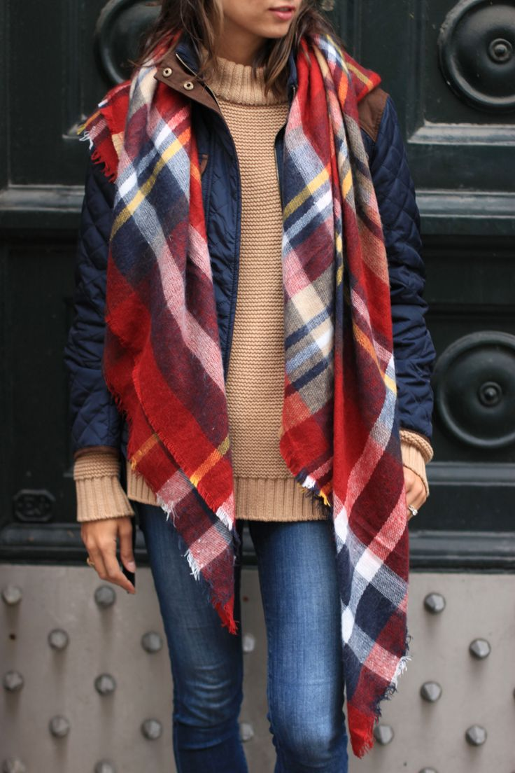 Plaids scarf, camel sweater, navy jacket and denim jeans the perfect fall outfits