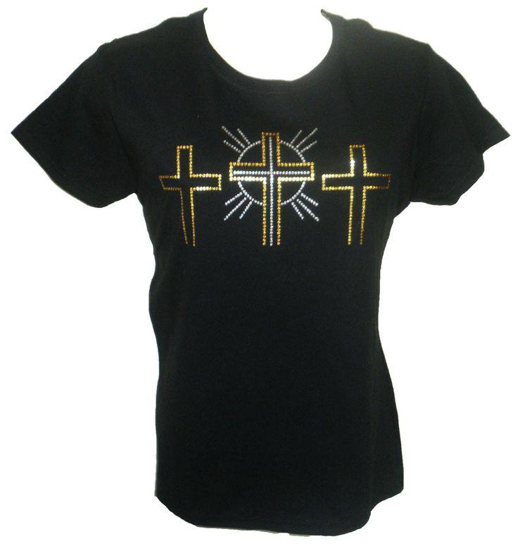 Glitter Three Crosses Ladies T Shirt