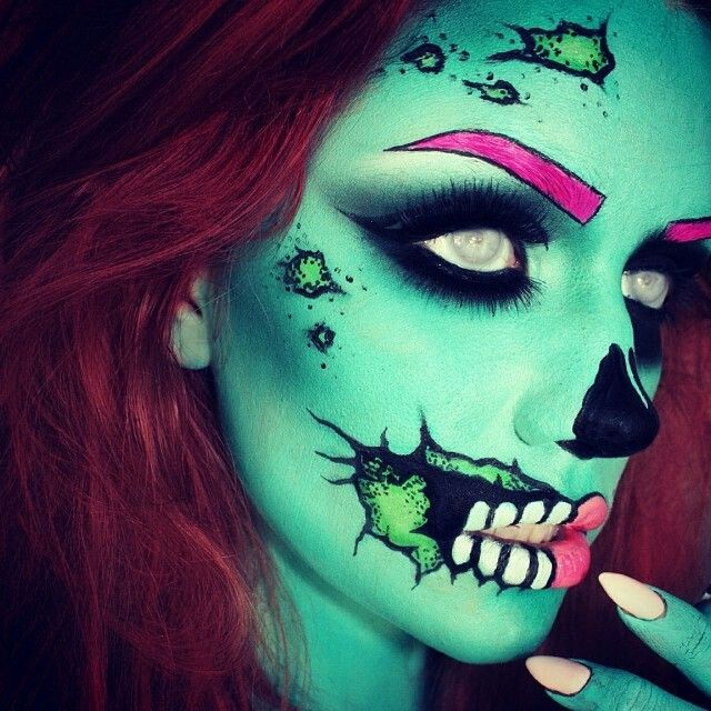 Creepy cool, Halloween Makeup  #makeup #halloween #green #beauty #bbloggers #scary #spooky #skull