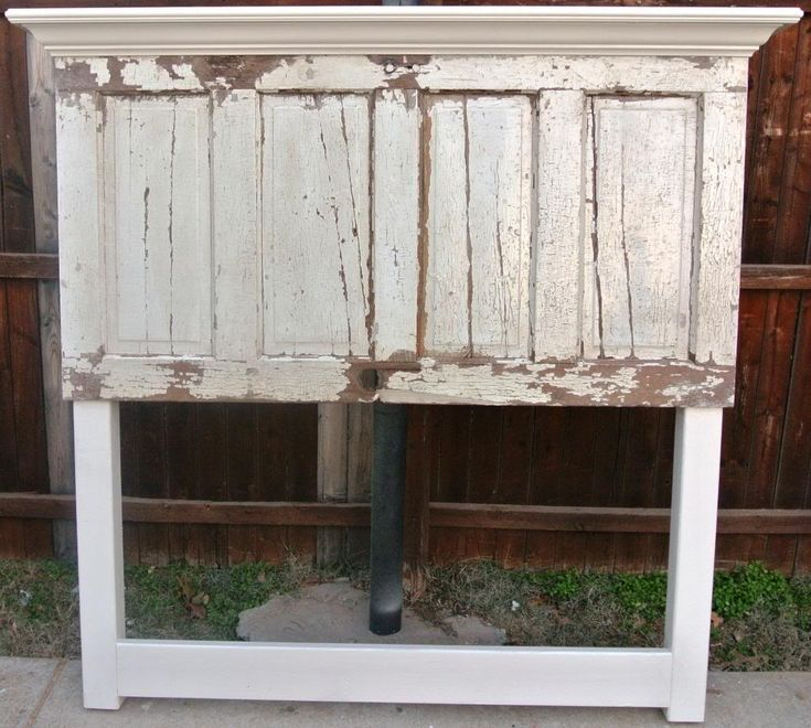 Distressed old door made into a headboard by vintage - Headboard made from old door ...