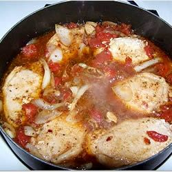 Cooked this for dinner tonight! I loved it... waiting for the hubby's two cents... my boys thought it was a little spicy, but I added a little too much red pepper.  I liked it a little spicy.  I don't know what the fennel would do for it, but it was left out on my attempt... couldn't find it in the store :)    Tomato Pork Loin Chops Allrecipes.com