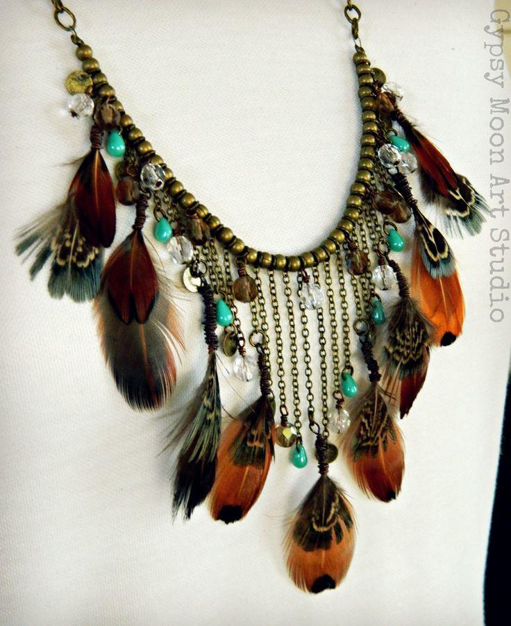 autumn bohemian necklace fall rustic wedding boho