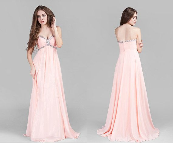 ... Long Chiffon Prom Dress, Pastel Pink Sweetheart Neck Formal Gown
