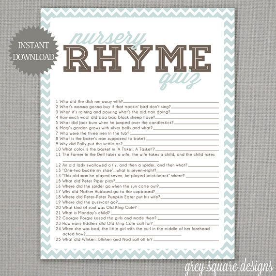 nursery rhyme quiz baby shower game blue chevron by greysquare