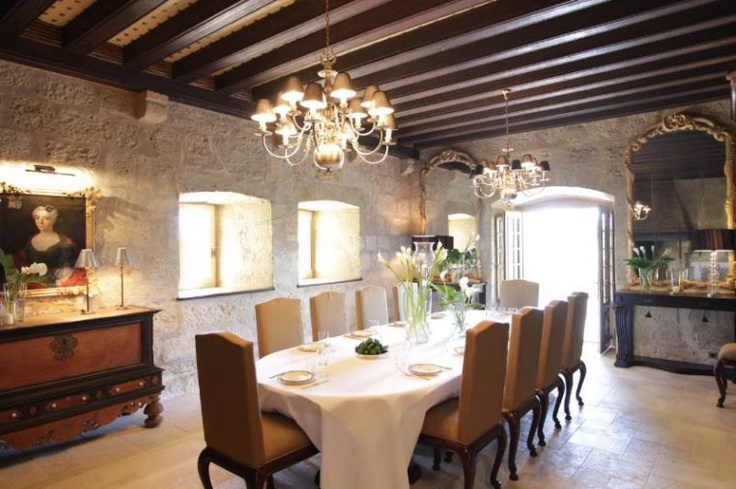 French Chateau Dining Room Decorating Ideas Home Decor Stone Floors