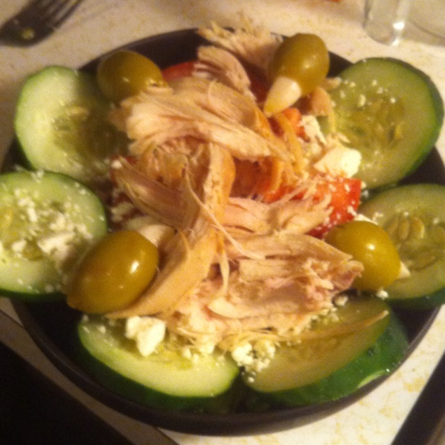 Roasted Chicken Salad w/ Cucumber, Tomato, Feta, garlic Stuffed Olives ...