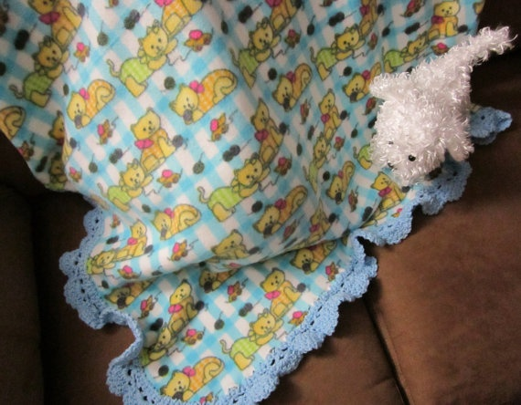 Fleece Baby Blanket with Crochet Edging by craftylittlekitten,