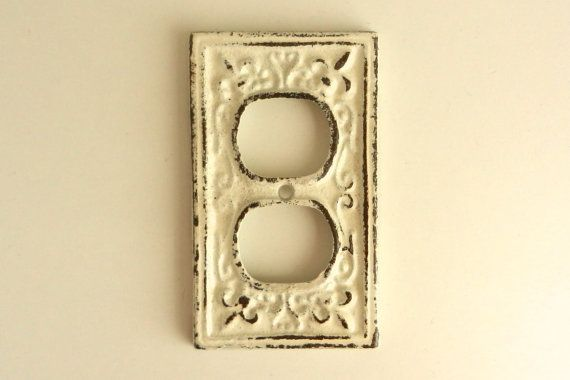 Electrical outlet cover decorative wall plate french country decor heirloom white - Decorative wall plates electrical ...