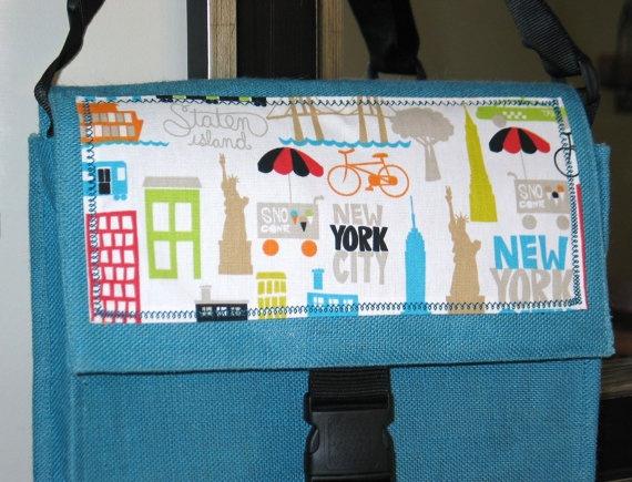 ... Aqua Blue Burlap Messenger Bag New York City by #Bagalicious, 35.00