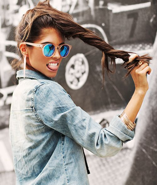 Attitude. Woman. Action. Summer. Sunglasses. Reflection. Blue. Dark. Beauty. Jeans Jacket. Sun Touched. Fashion. Clothing. Jewelery.
