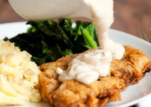 #Recipe - chicken fried steak with cream gravy