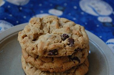 Outrageous chocolate chip cookies (peanut butter, oats, chocolate ...