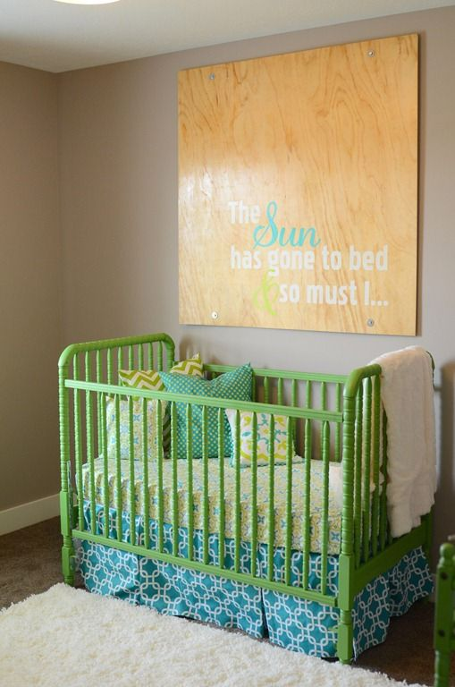 Cute crib and wall hanging! The Sun has gone to bed & so must I...
