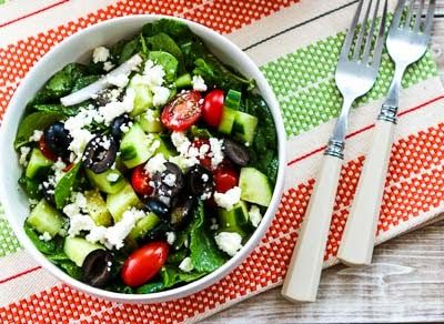 Kalyn's Kitchen®: Spinach and Kale Salad with Greek Flavors and Feta ...