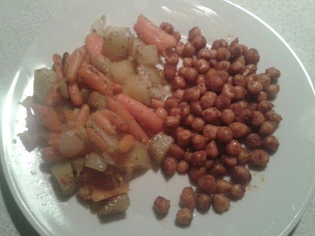 ... with thyme and garlic and roasted chickpeas with curry and paprika